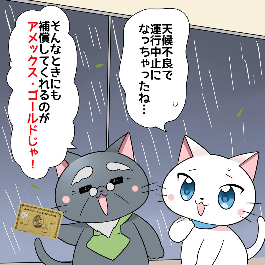 白猫が「天候不良で運行中止になっちゃったね」と言い、博士が「そんなときにも補償してくれるのがアメックス・ゴールドじゃ!」と言っているイラスト