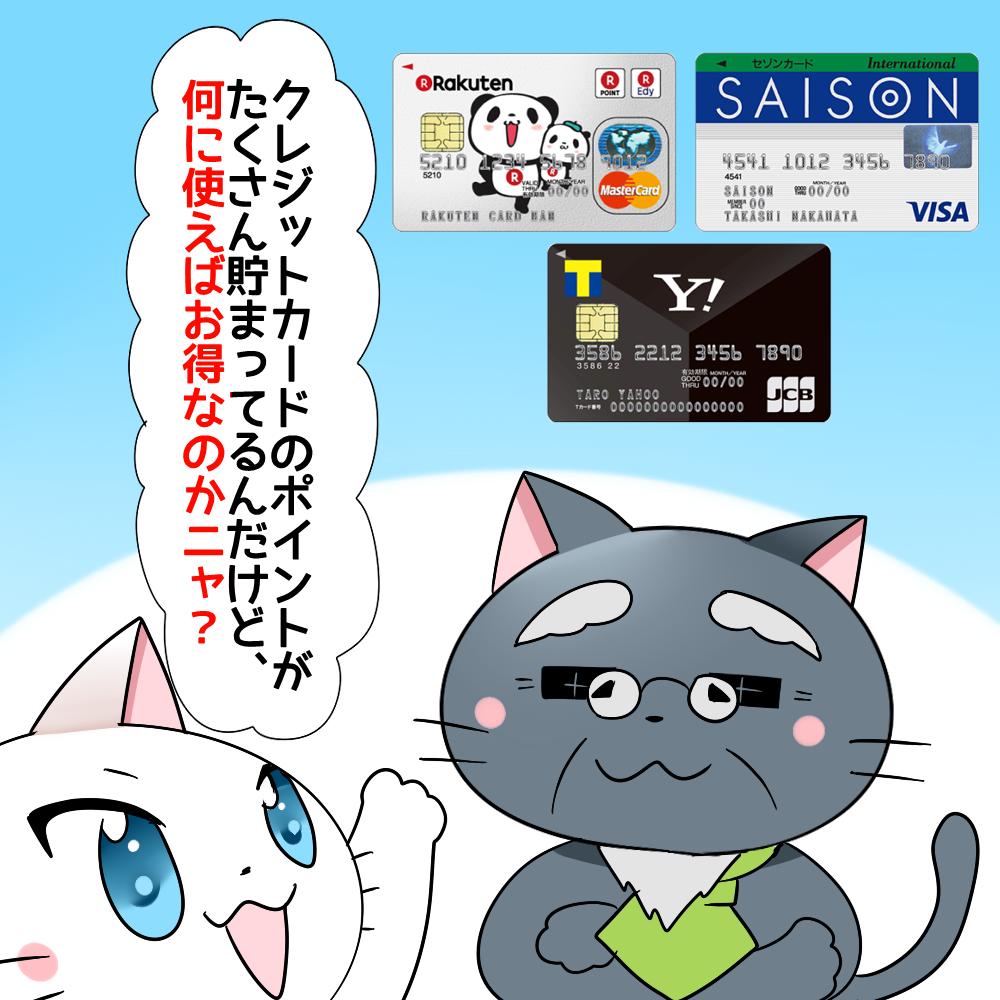 白猫が博士に 「クレジットカードのポイントがたくさん貯まってるんだけど、何に使えばお得なのかニャ?」 と聞いているシーン(背景に楽天カードやヤフーカード、セゾンカードインターナショナルがある)