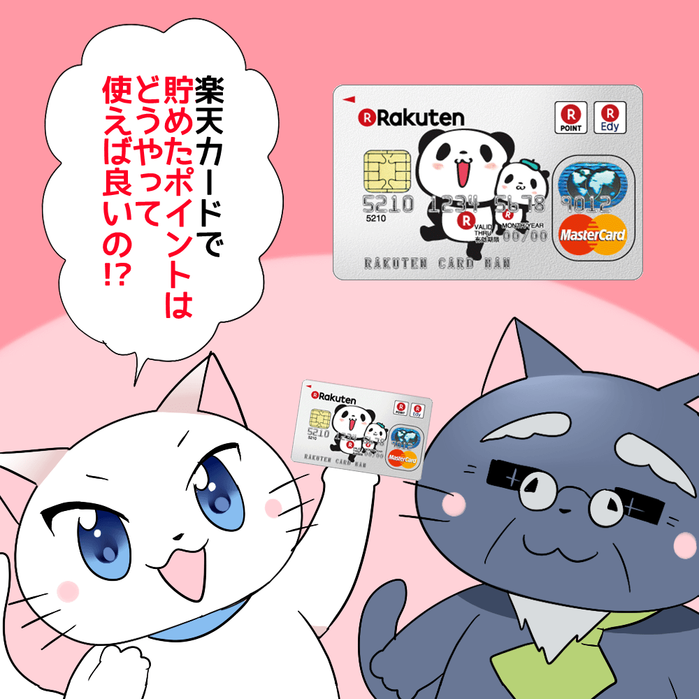 背景に楽天カードがあり、白猫が楽天カードを手に持ちながら 「楽天カードで貯めたポイントはどうやって使えば良いの!?」 と博士に聞いているシーン