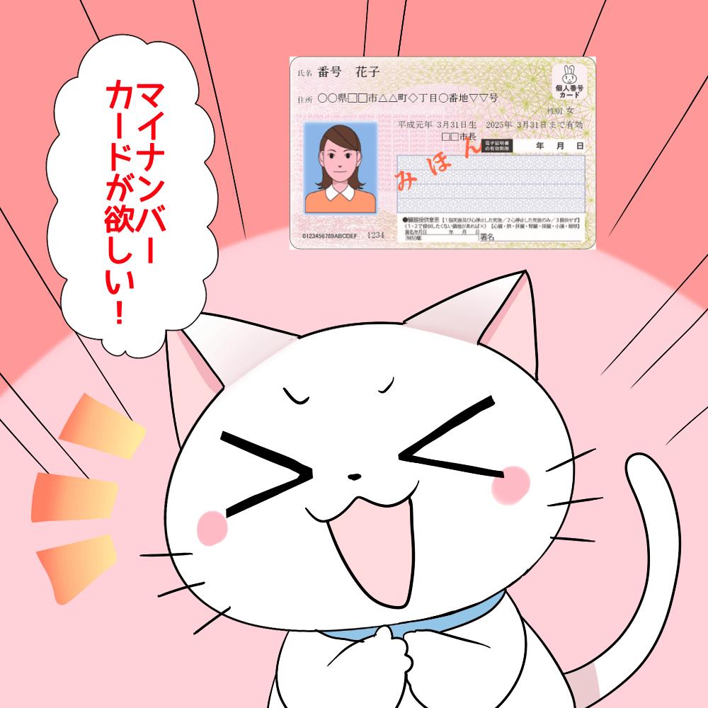 背景にマイナンバーカードがあり、 白猫は「マイナンバーカードが欲しい!」 と言っているシーン