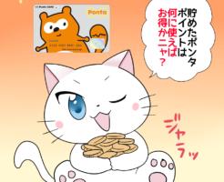 背景にポンタカードがあり、 白猫が「貯めたポンタポイントは何に使えばお得かニャ?」 と考えているシーン