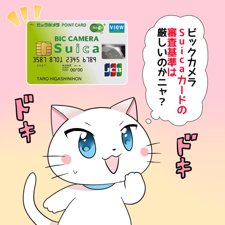 白猫が「ビックカメラSuicaカードの審査基準は厳しいのかニャ?」と言っているイラスト
