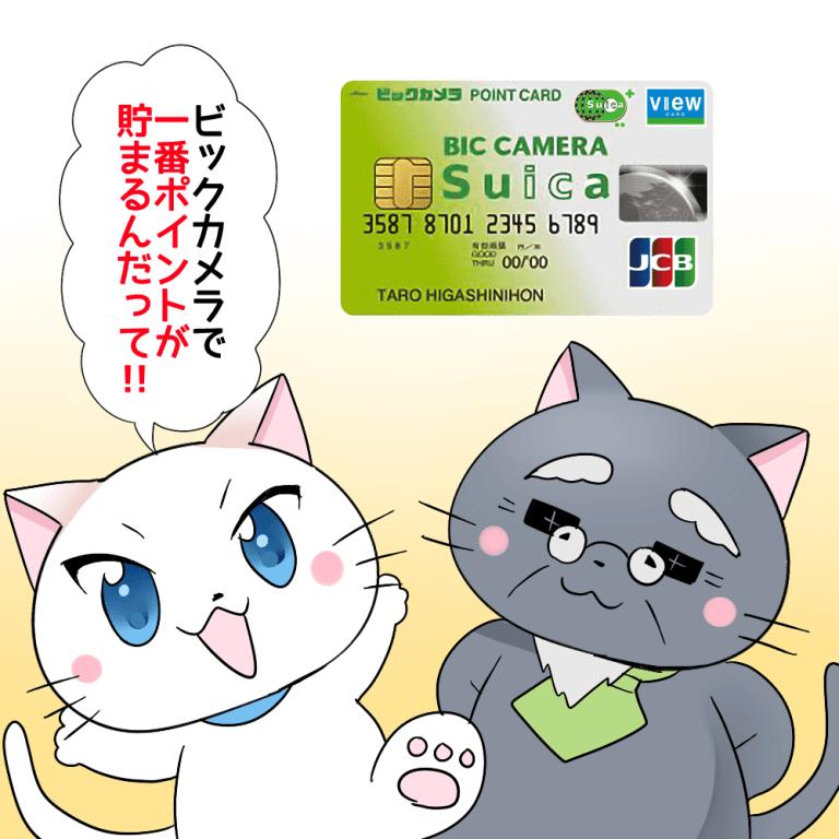 白猫が博士に『ビックカメラで一番ポイントが貯まるんだって!』と言っているシーン