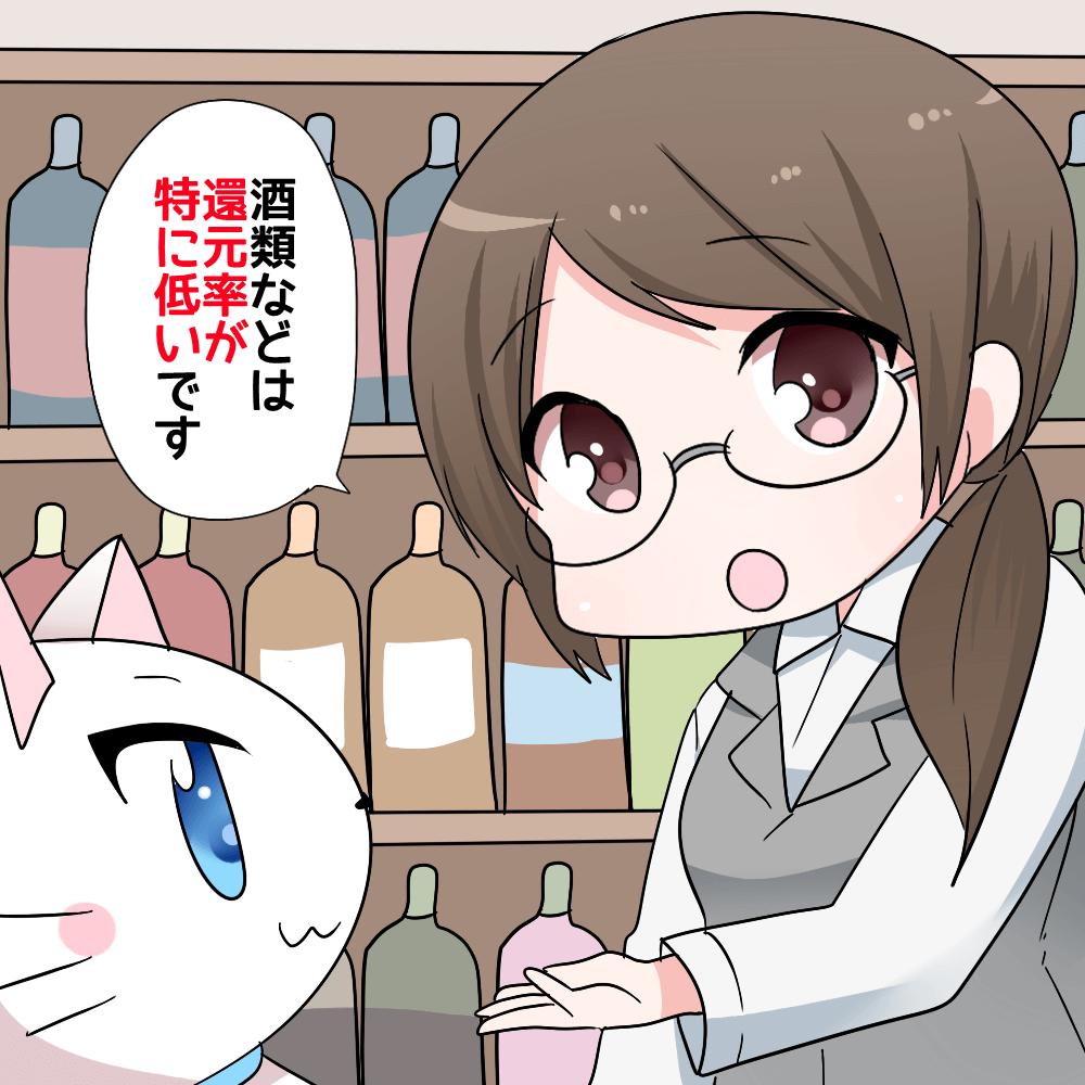 ビックカメラのお酒コーナーで店員が 「酒類などは還元率が特に低いです。」と白猫に 説明しているシーン