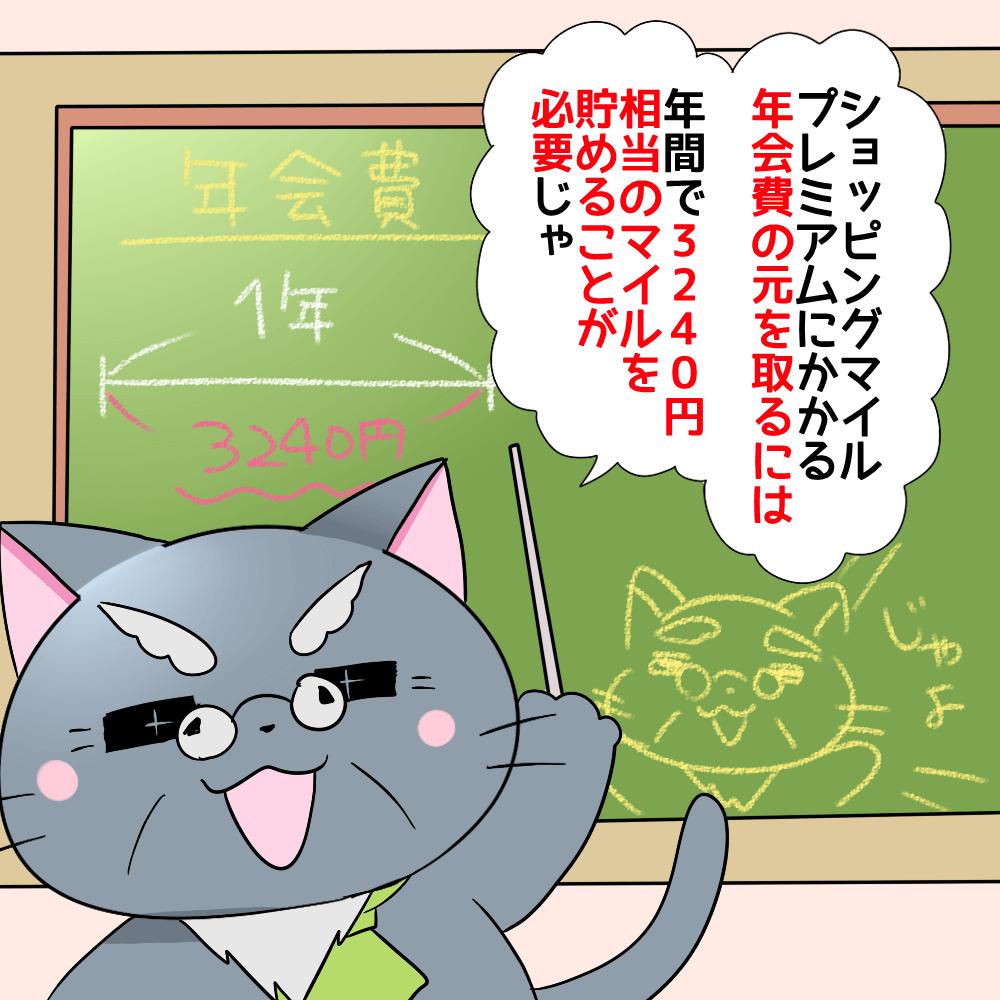 博士が白猫に 「ショッピングマイルプレミアムにかかる年会費の元を取るには年間で3,240円相当のマイルを貯めることが必要じゃ。」 と黒板を使って説明しているシーン