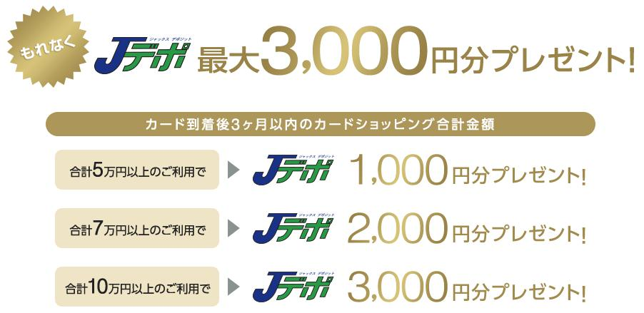 ショッピング利用額に応じて最大3,000円分のJデポ