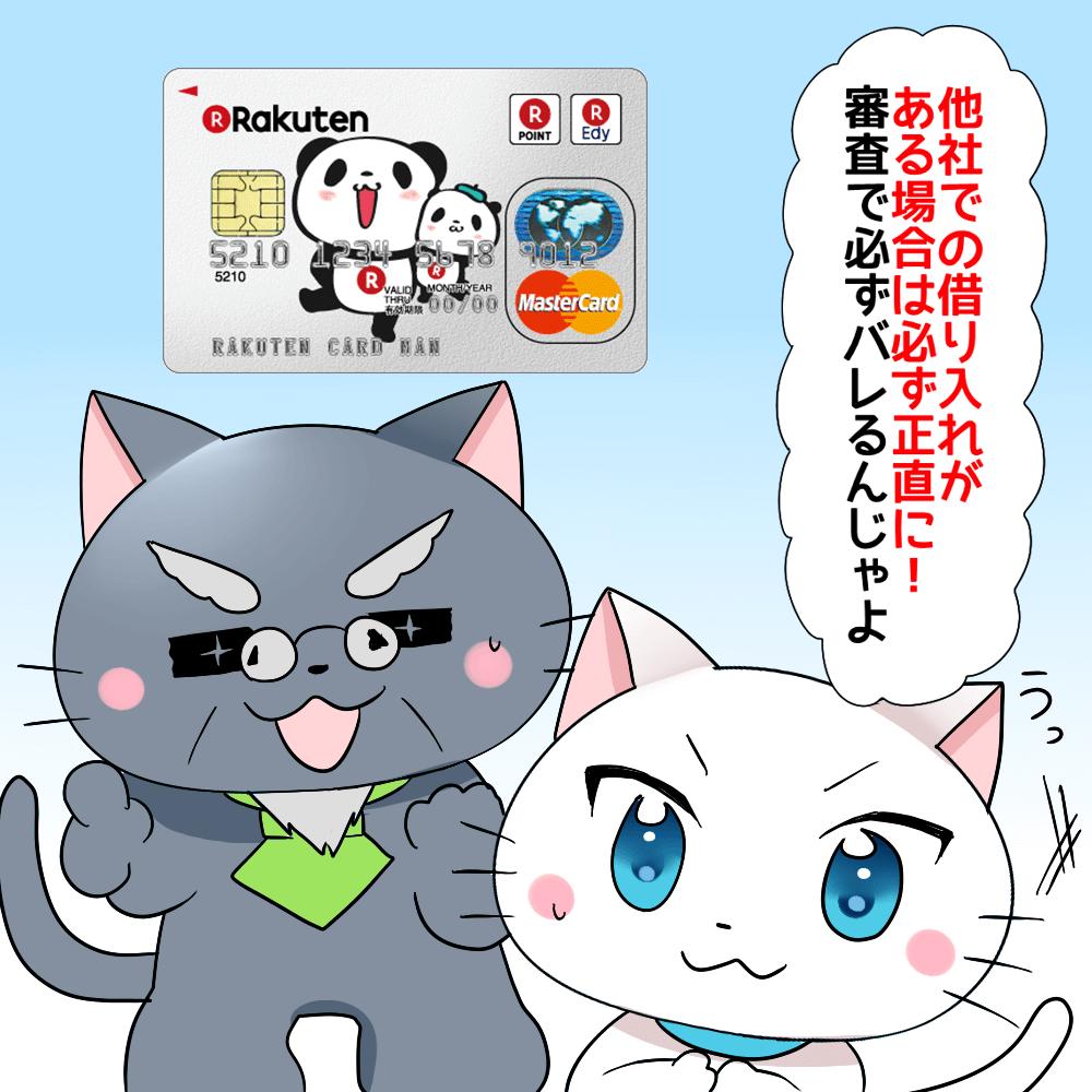 背景に楽天カードがあり、 博士が「他社での借り入れがある場合は必ず正直に!審査で必ずバレるんじゃよ。」 と白猫に言っているシーン