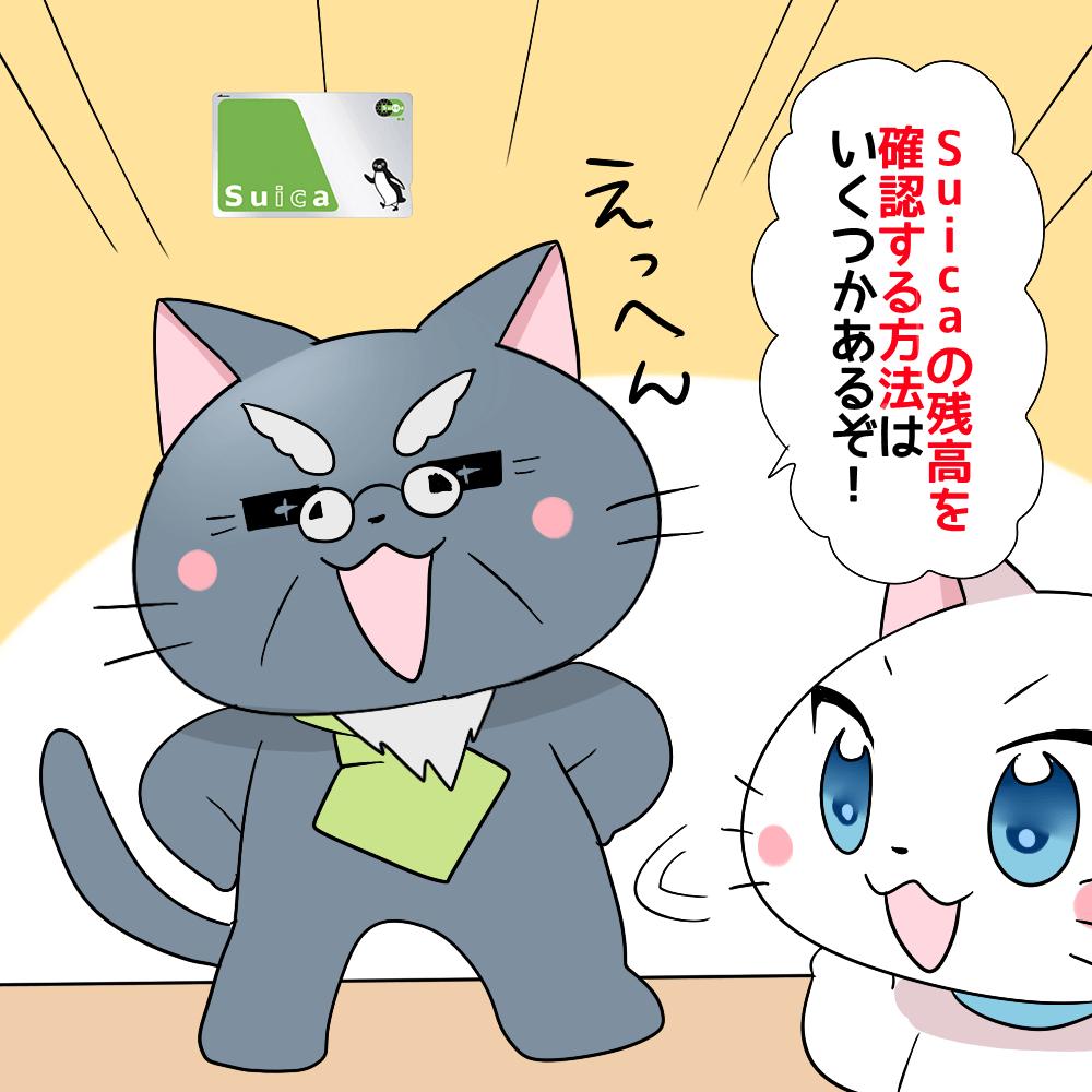 背景にSuicaがあり、博士が 「Suicaの残高を確認する方法はいくつかあるぞ!」 と白猫に説明しているシーン