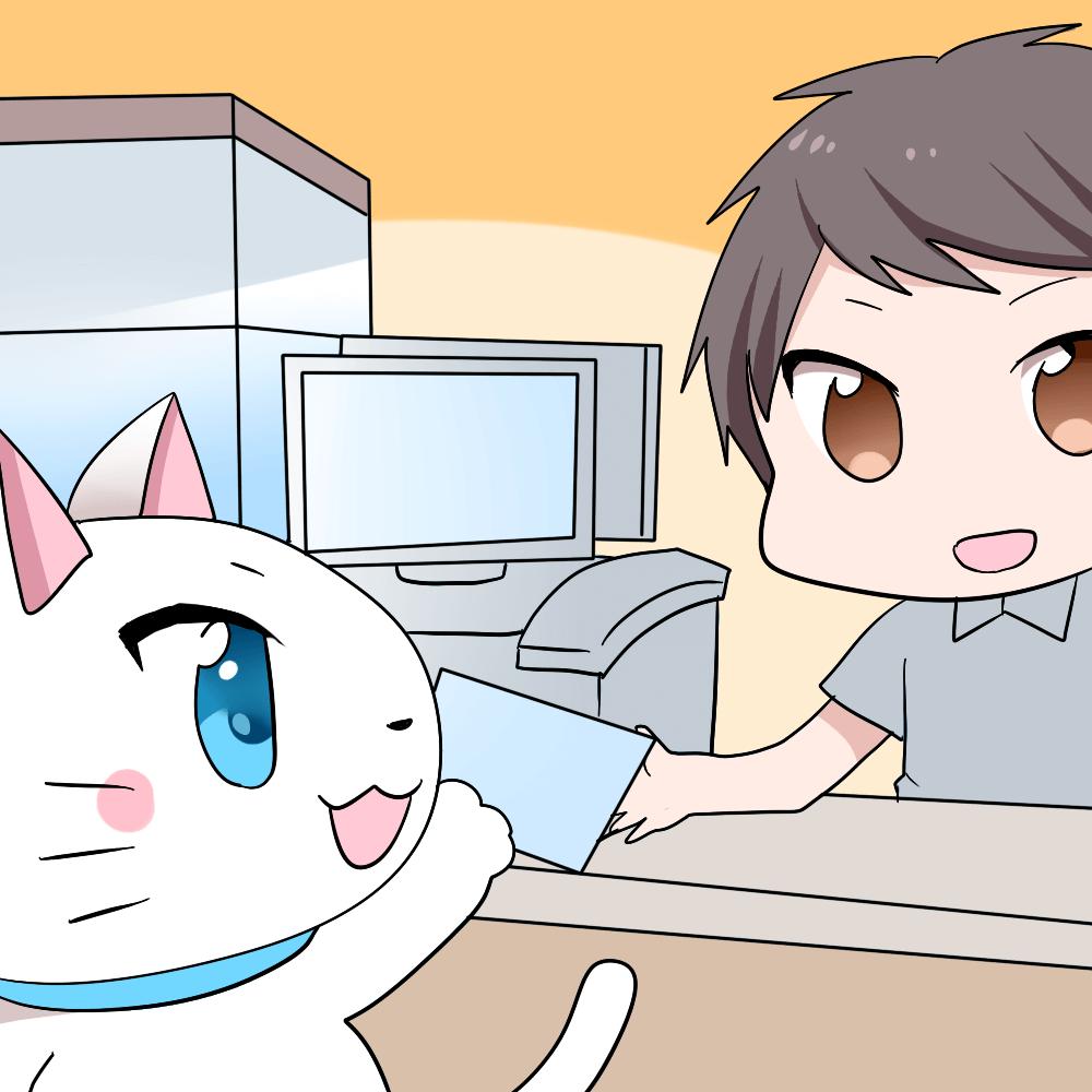 白猫がコンビニのレジで店員にクレジットカードを渡しているシーン