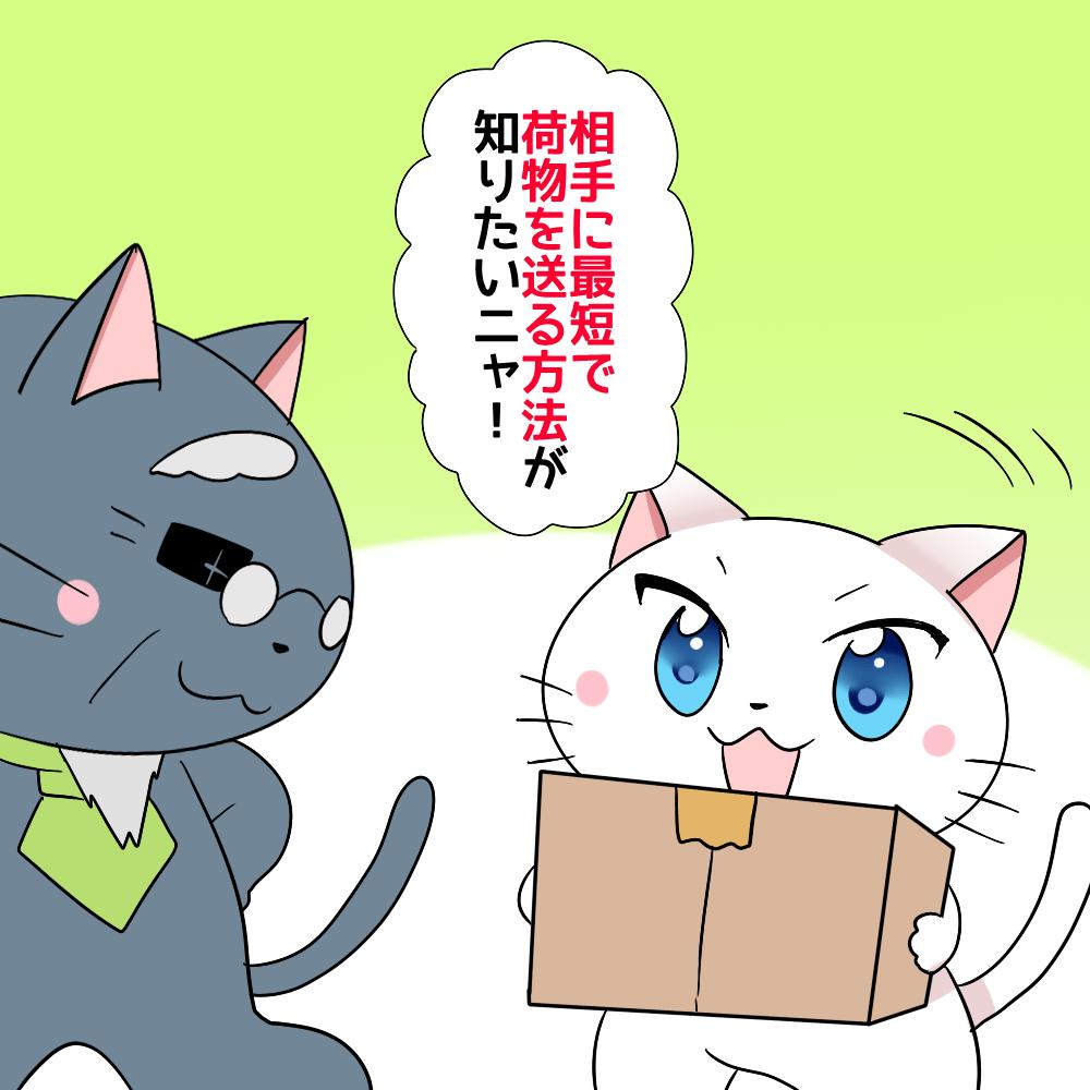 白猫が段ボールを持って 「相手に最短で荷物を送る方法が知りたいニャ!」 と博士に言っているシーン