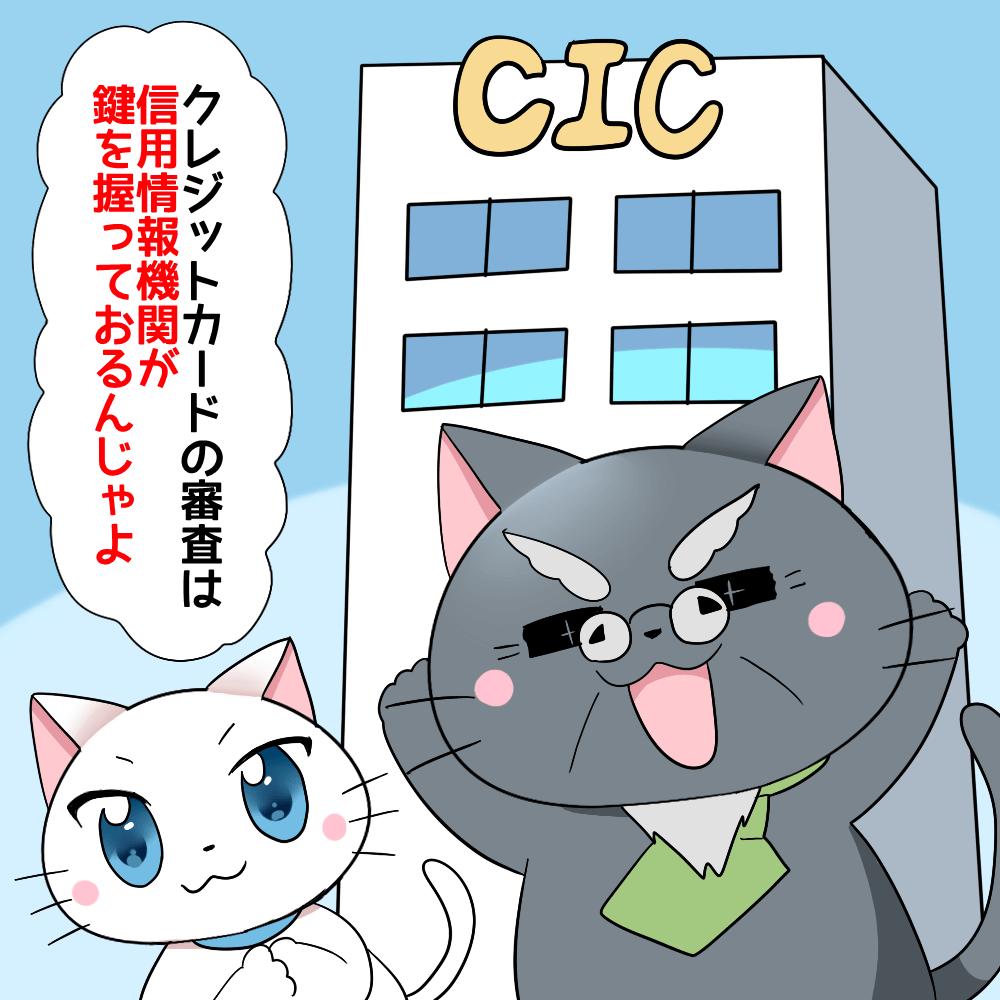 博士が白猫に 「クレジットカードの審査は信用情報機関が鍵を握っておるんじゃよ。」 と言っているシーン(背景イラストにビルがあり、CICと記載)