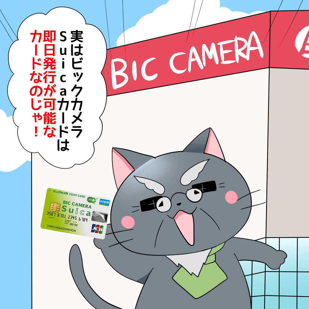 博士がビックカメラSuicaカードを持ちながら 「実はビックカメラSuicaカードは即日発行が可能なカードなのじゃ!」 と言っているシーン(背景にビックカメラ)