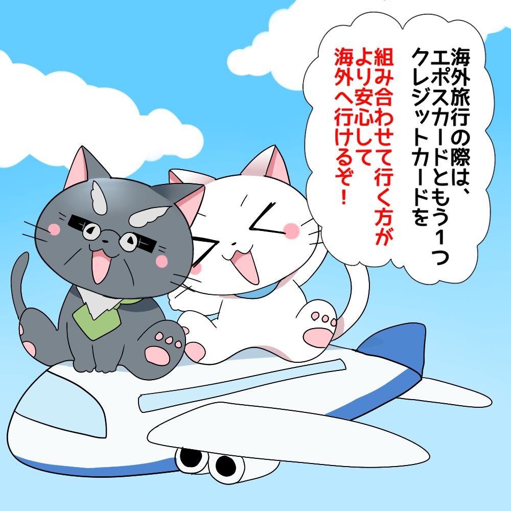 博士が白猫に 『海外旅行の際は、エポスカードともう1つクレジットカードを組み合わせて行く方がより安心して海外へ行けるぞ!』 と言っているシーン