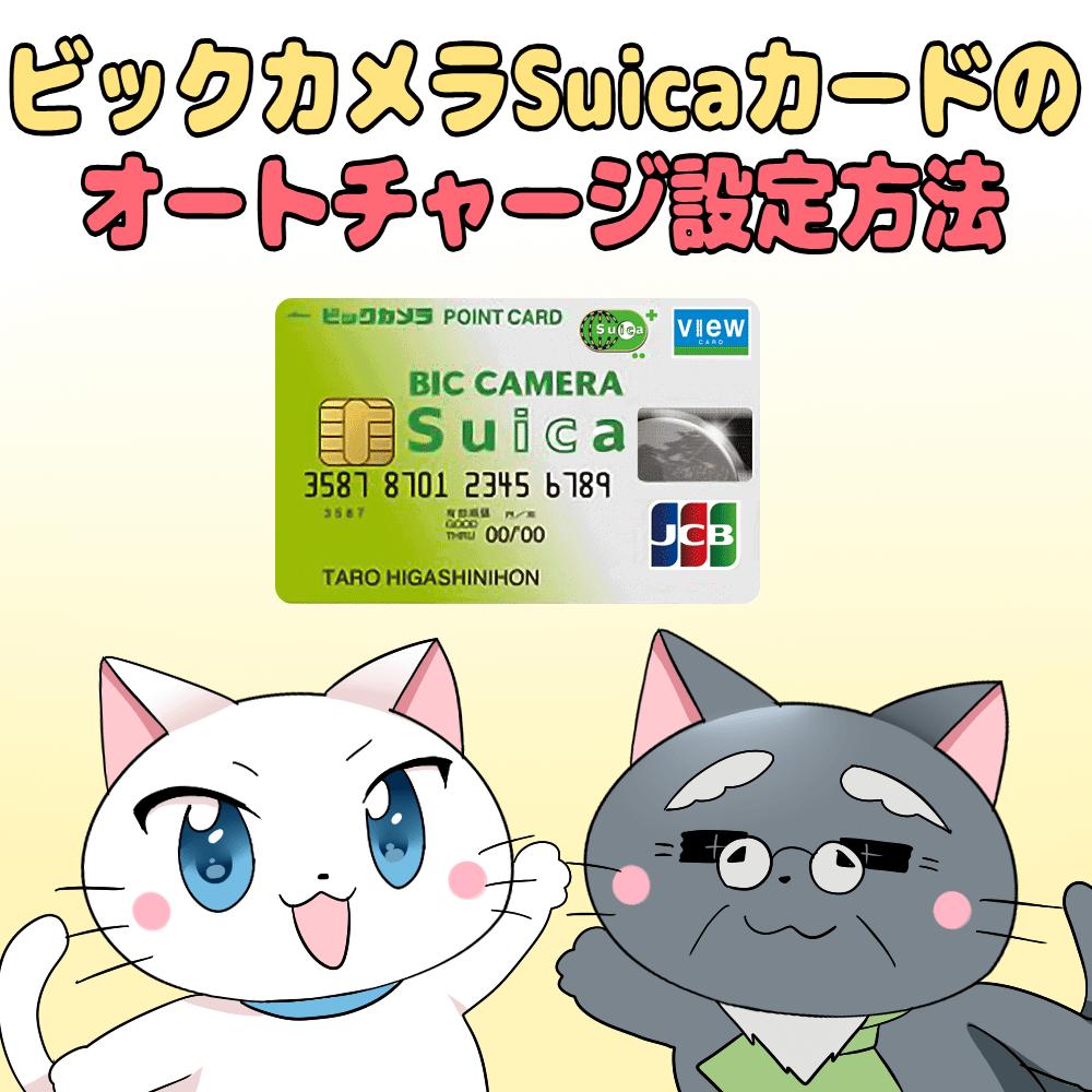 イラスト文字で 「ビックカメラSuicaカードのオートチャージ設定方法」 とあり、白猫と博士が下にいるイラスト(背景にビックカメラSuicaカード)