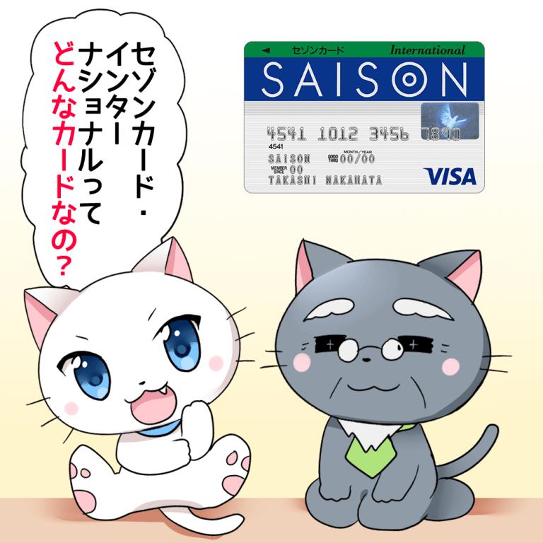 白猫が博士に「セゾンカード・インターナショナルってどんなカードなの?」と聞いているイラスト