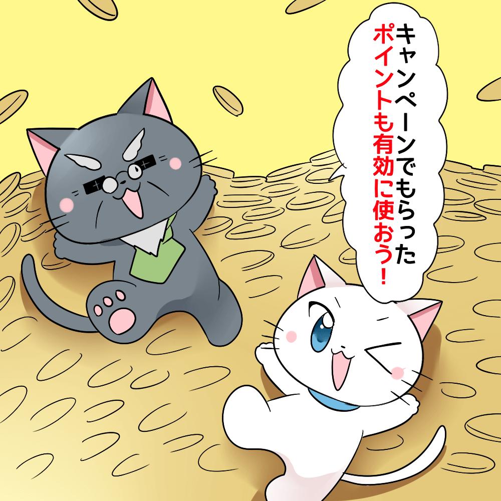 博士が白猫に 『キャンペーンでもらったポイントも有効に使おう!』 と言っているイラスト(背景にポイントがザクザクあるようなイラスト)