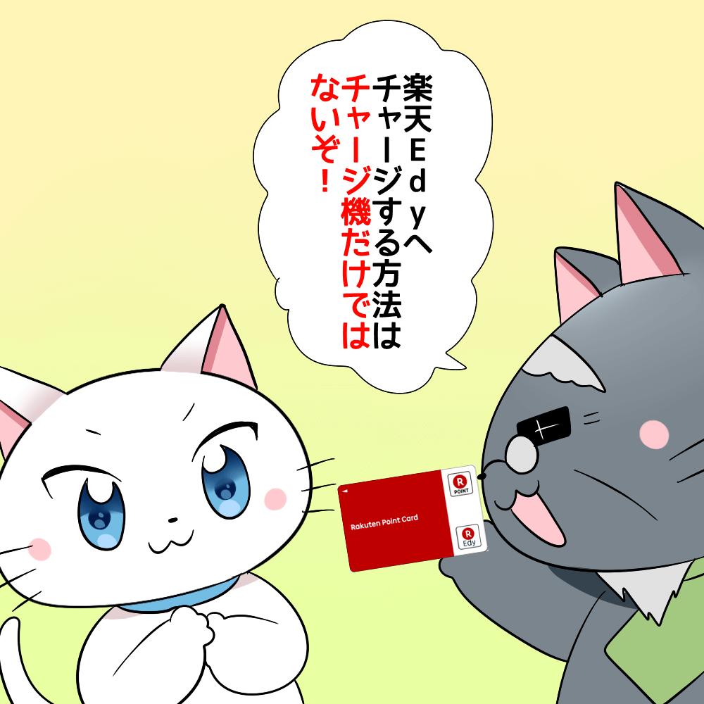 博士が楽天Edyカードを持ちながら白猫に 「楽天Edyへチャージする方法はチャージ機だけではないぞ!」 と言っているイラスト