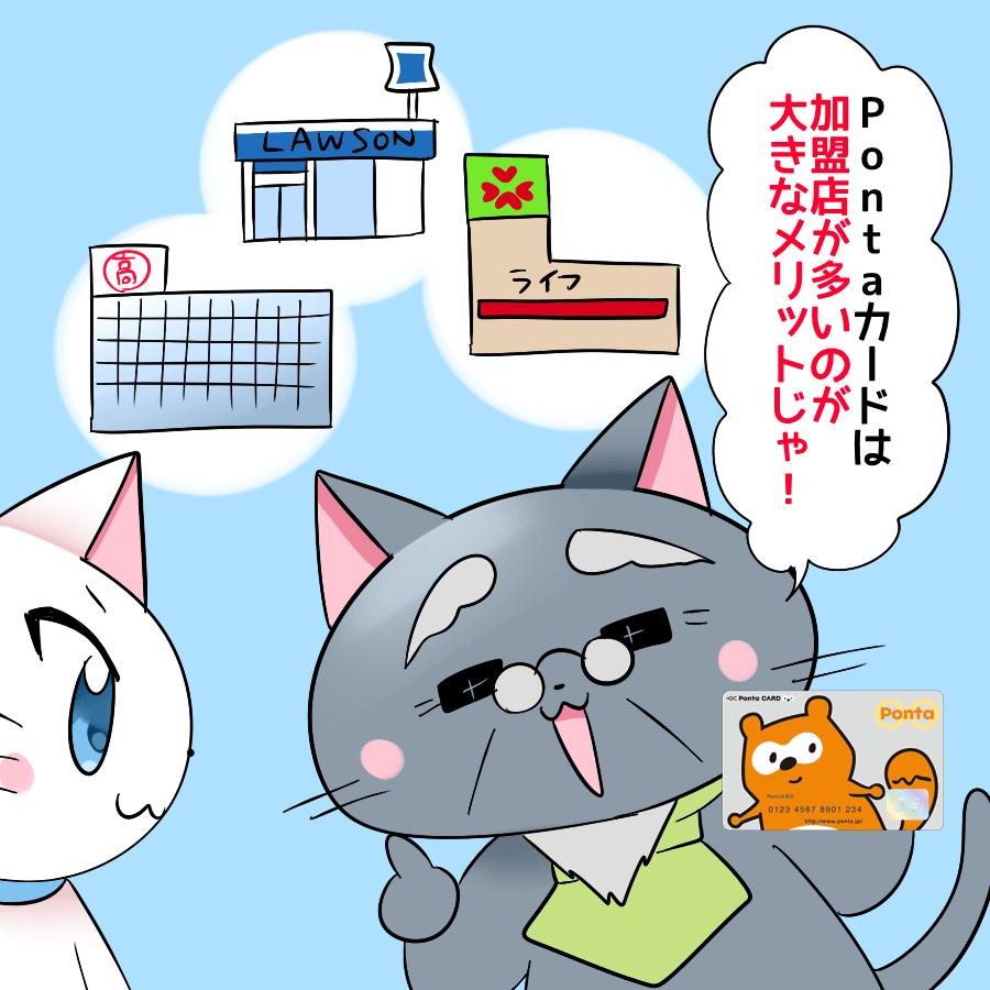背景に高島屋やローソン、ライフ(スーパー)の簡易的なイラストと、 博士がPontaカードを持ちながら『Pontaカードは加盟店が多いのが大きなメリットじゃ!』 と白猫に言っているイラスト
