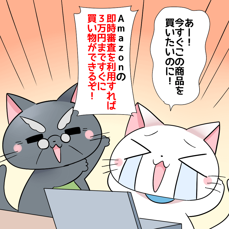 白猫がパソコンに向かいながら 『あー!今すぐこの商品を買いたいのに!』 と言い、博士が 『Amazonの即時審査を利用すれば3万円まですぐに買い物ができるぞ!』 と言っているイラスト