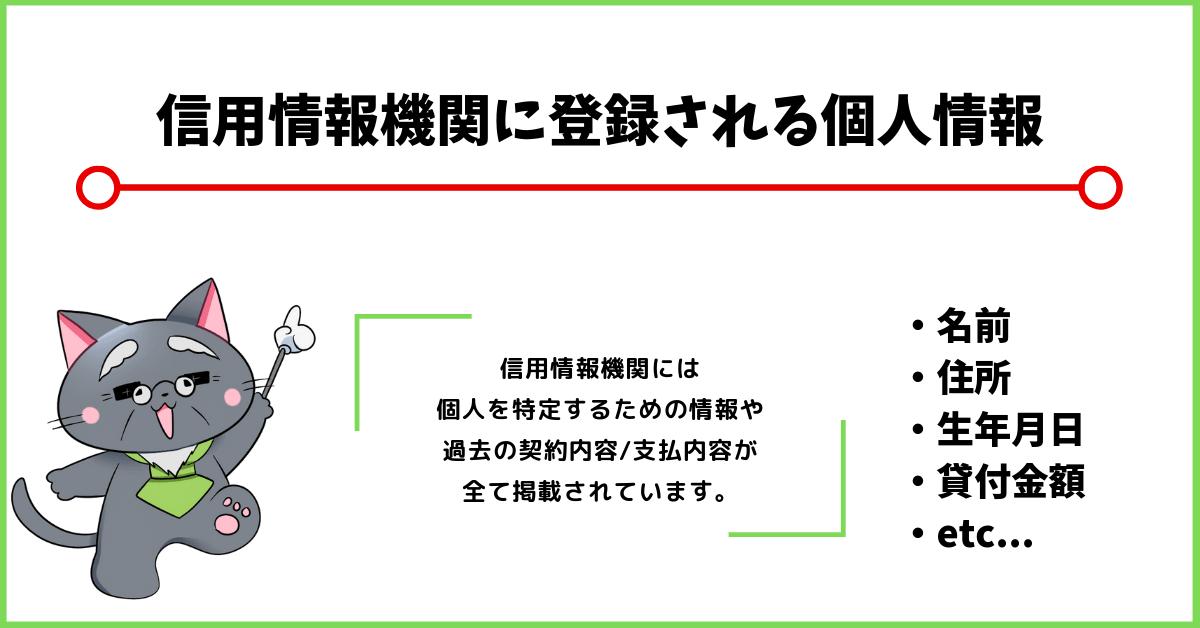 信用情報機関に登録される内容