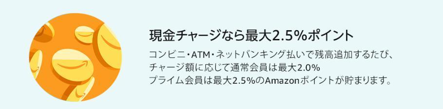 Amazonギフト券チャージで2.5%還元