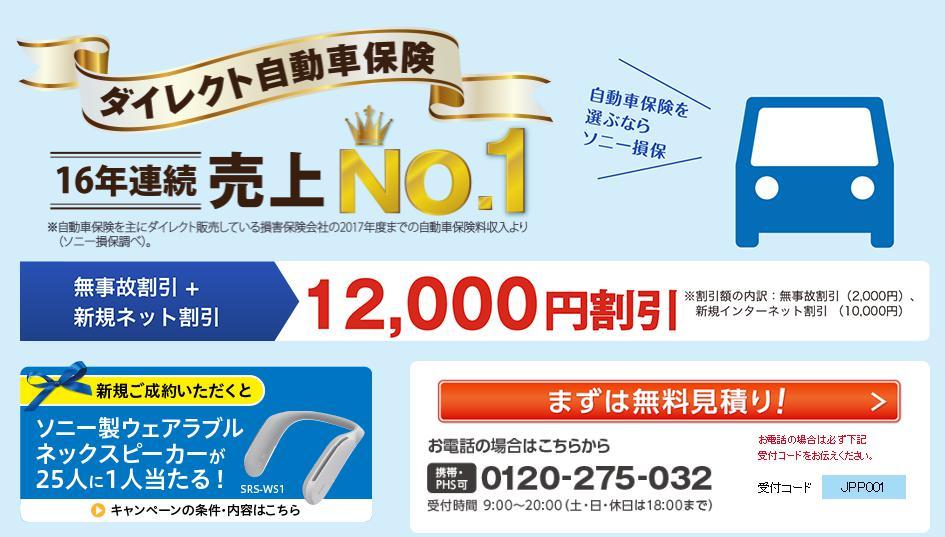 ソニー損保の自動車保険キャンペーン