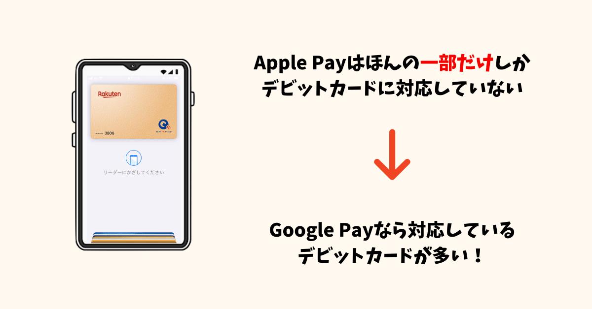 Apple Payはほとんどのデビットカードが利用できない