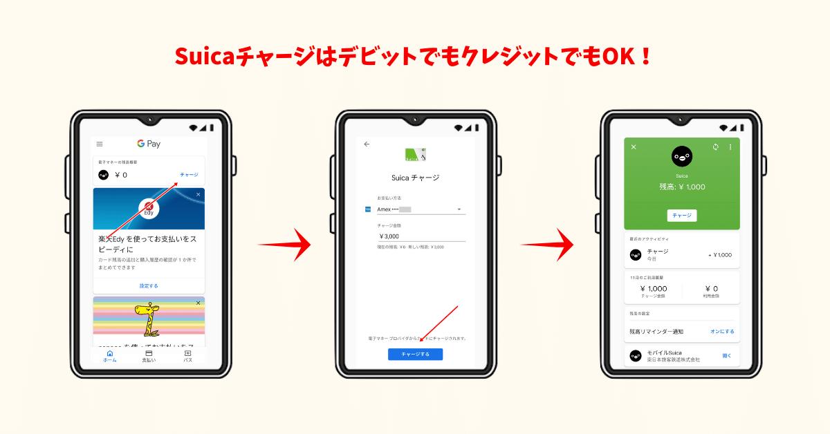 Google Payに登録したデビットカードからSuicaへチャージする方法